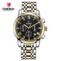 CHENXI Brand Watches Men Multifuntional Gold Watch High Quality Steel Strap Business Quartz Clock Chronograph Wristwatch