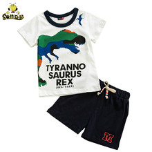 Summer Kids boys clothing Toddler Children Clothing Set Outfits girls suits Cartoon dinosaur costume Print T-shirt Tops+Shorts