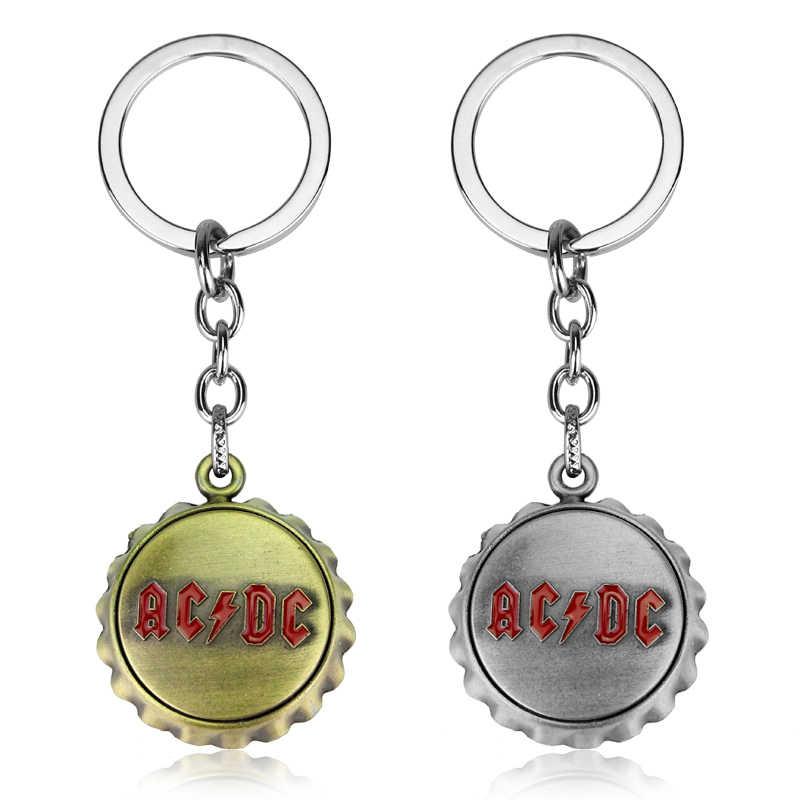 Popular banda de música Rock AC/CC ACDC Carta Roja Logo llavero moda mujer hombres accesorios Metal abrebotellas llavero de ventilador regalo