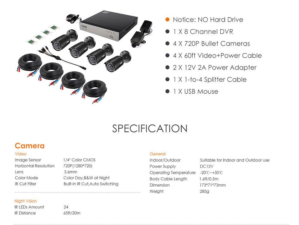 ZOSI 8CH CCTV System 4PCS 1280TVL Outdoor Weatherproof