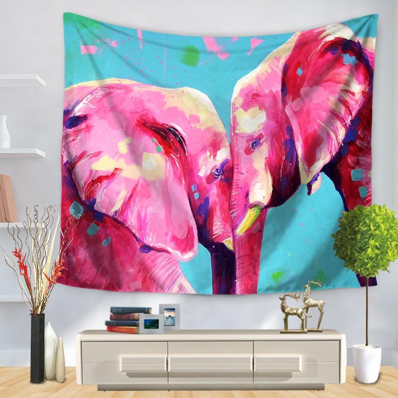 Cute Painted Elephants Boho Wall Hanging Colorful Printed
