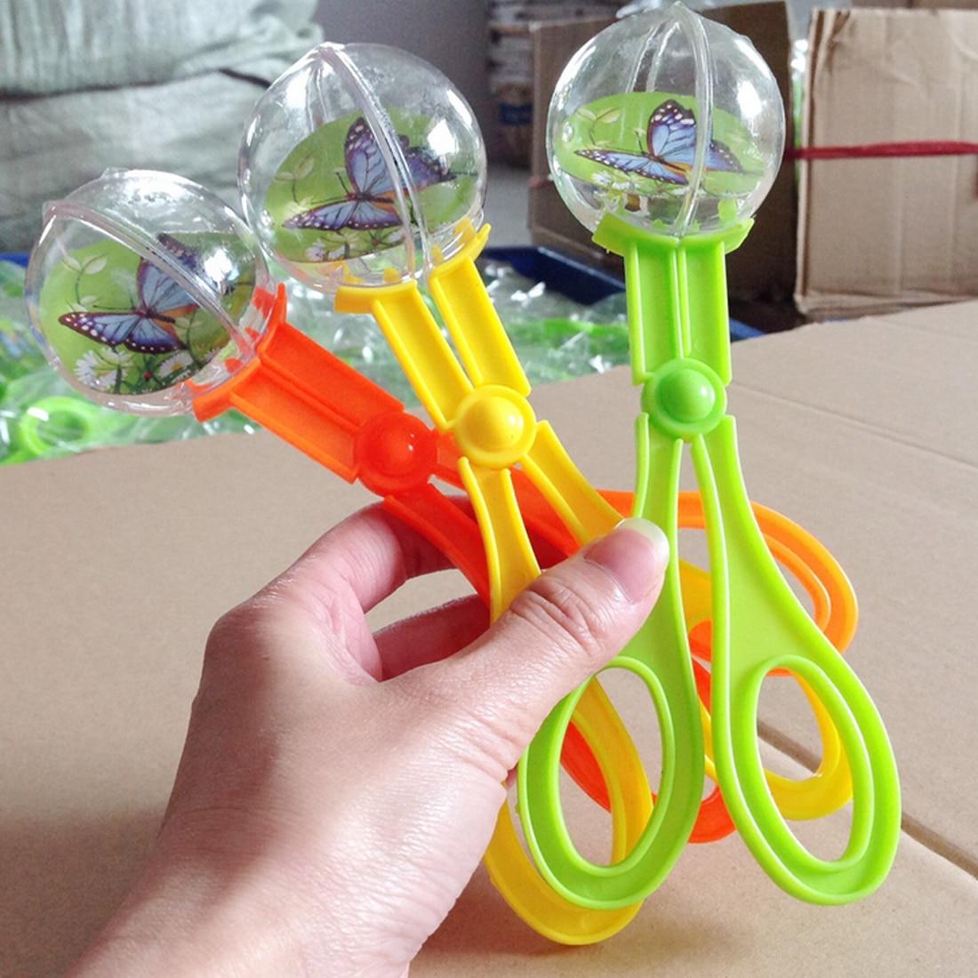 Green /Orange Plastic Bug Insect Catcher Scissors Tongs Tweezers For Kids Children Toy Handy Tool
