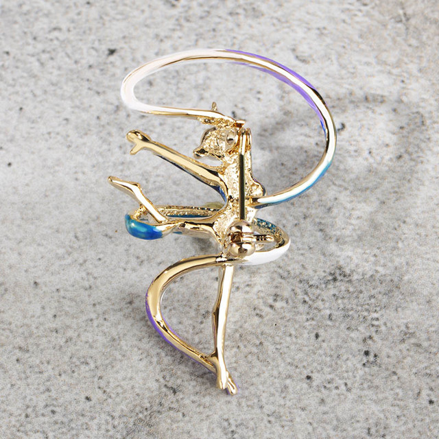 Blucome Fashion Sports Gymnastics Whirling Girls Ribbon Brooch Clothes Accessories Gold Color Enamel Brooches Women Jewelry Pins