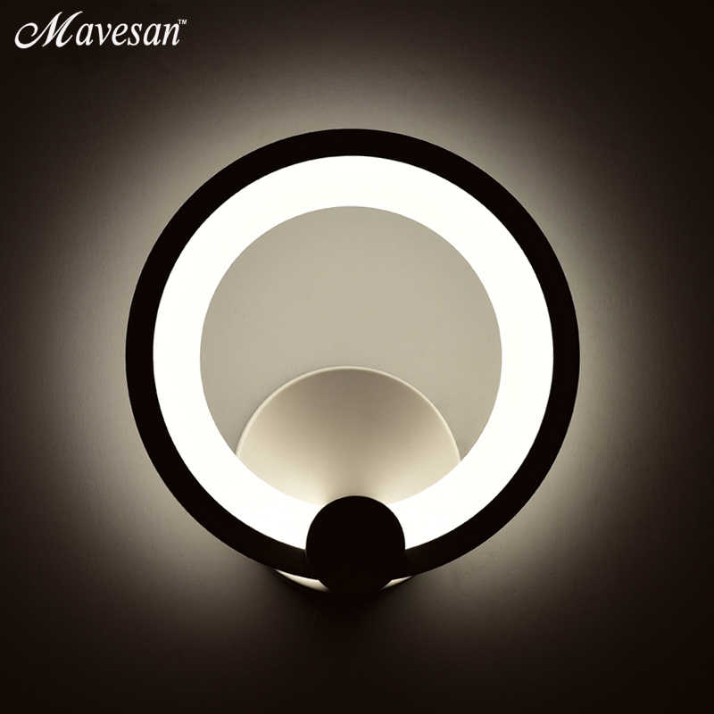 12W LED Wall Lamp for bedroom reading room Circle Modern Wall Sconce White Indoor Lighting Lamp AC100-265V lamparas stair light