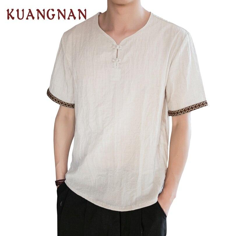 KUANGNAN Chinese Style Linen White T Shirt Men Fashions Harajuku Streetwear Funny Tshirt Men T Shirt Hip Hop T-Shirt Men 2019