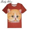 New Kid Meninas T-shirts Para O Verão Bonito 3D Animais Impressos Teste Padrão do gato Grande Menina Camisas Estudantes Doces Encabeça 15-20 Anos tyh-20483
