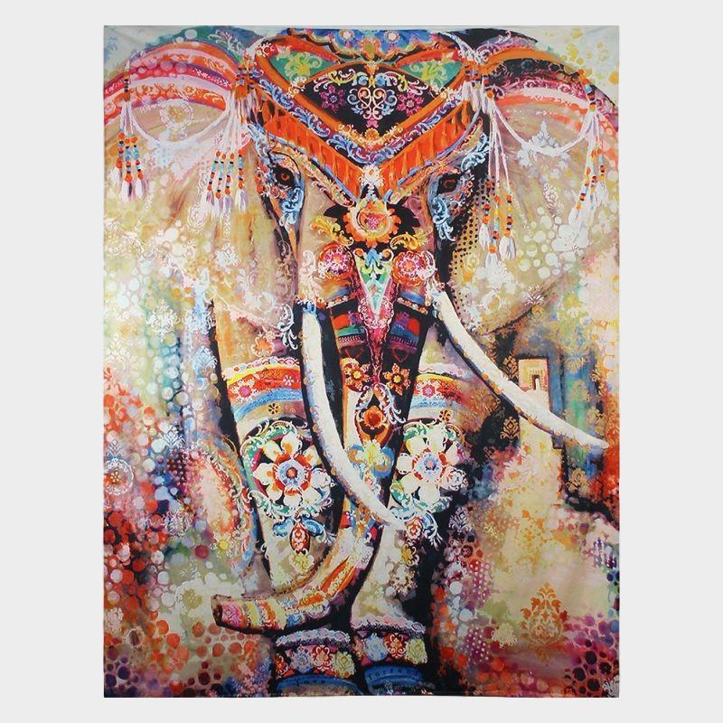 Elefante indio tapicería de Aubusson de color impreso Mandala religiosa pared alfombra Bohemia playa manta Plus tamaño