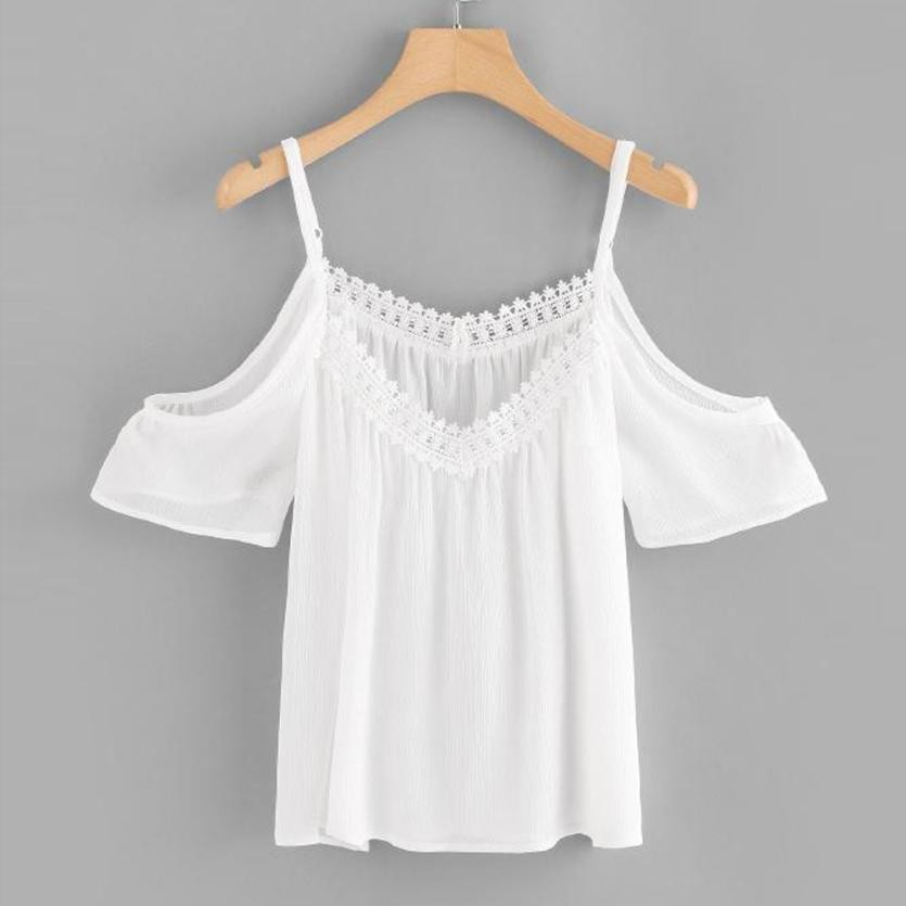 Women Casual Lace Off Shoulder Blouse White Summer Slash Neck Crochet Applique Tank Top Blouse Free Shiping #GH3