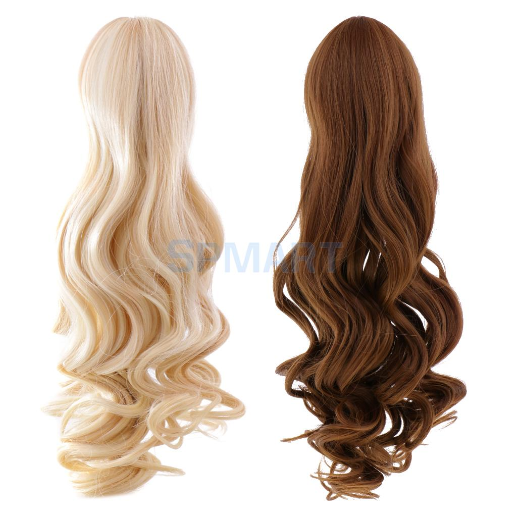 2 Pieces Dolls Full Head Wavy Curly Hair Wig Hairpiece for 18'' American Girl Dolls DIY Making Accessories graceful short side bang fluffy natural wavy capless human hair wig for women