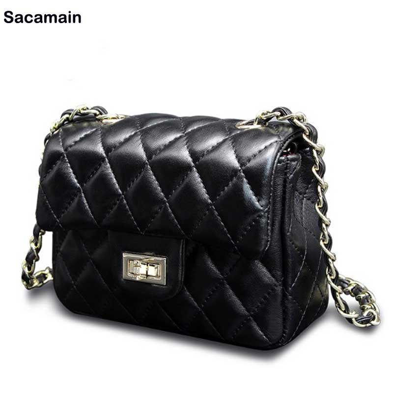1115 Women Crossbody Bag Lampskin Genuine Leather Small Women Black Color Casual Bag Cheap Price Bolso Mujer de marca famosa Sac