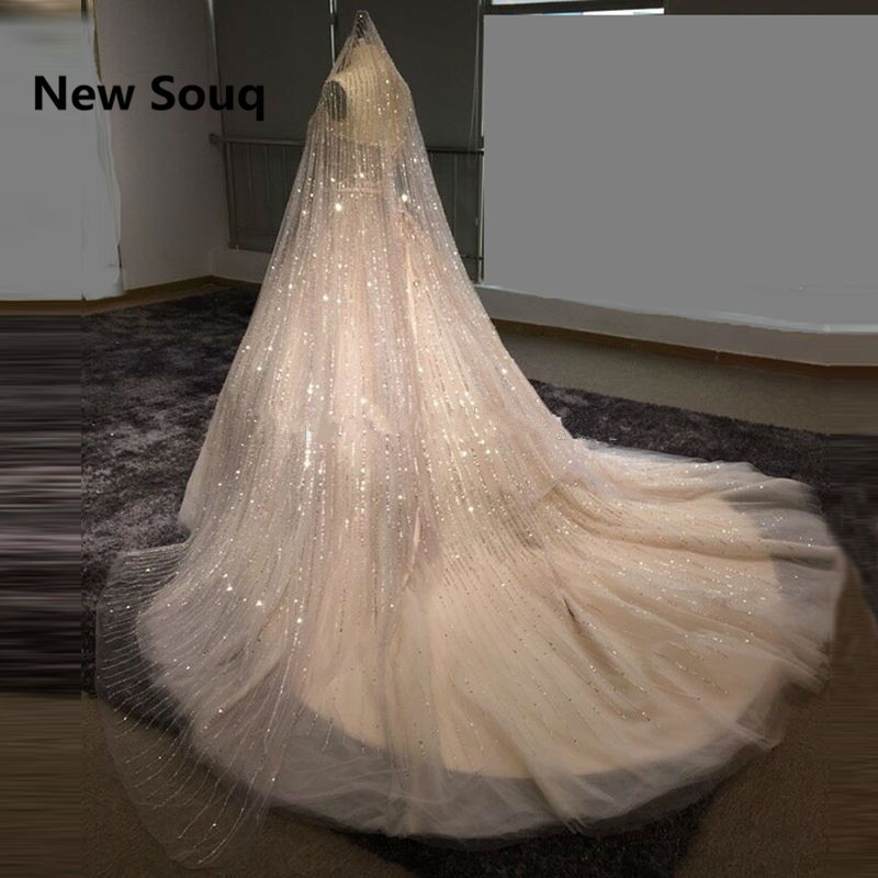US $615 2 20% OFF|Luxury Sequined Ball Gown Wedding Dresses with Veil 2019  Strapless Bridal Dress Arabic Dubai Wedding Gowns vestidos de noiva-in