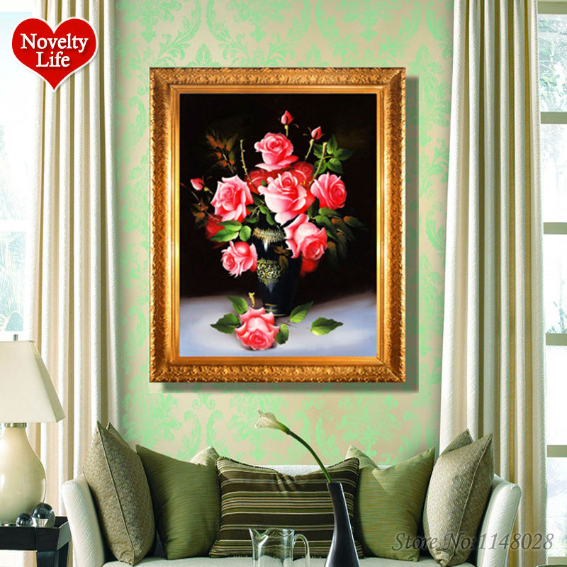Frameless Canvas Art Oil Painting Flower Painting Design: Frameless Pictures On Canvas Diy Digital Oil Painting By