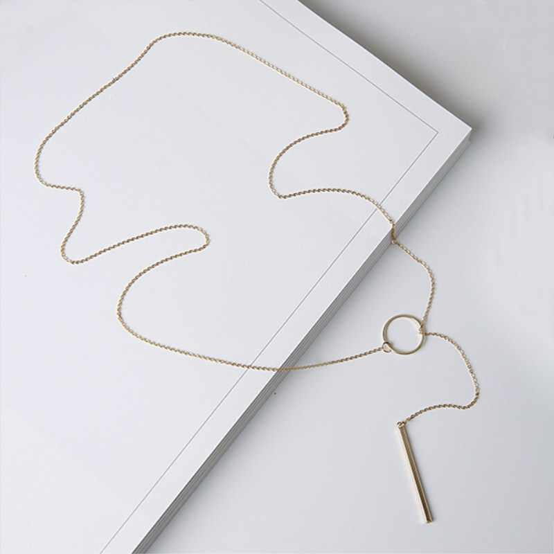 Nk547 punk feminino jóias minimalista minúsculo dainty collier único círculo redondo barra pingente curto clavícula colar para menina corrente