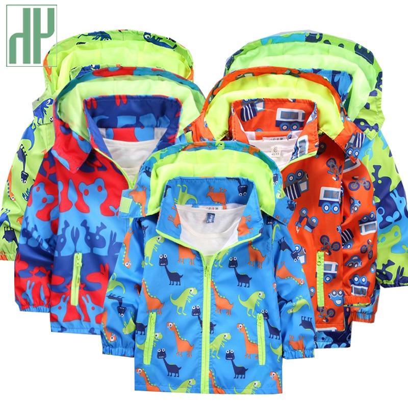 Crianças jaquetas com capuz Casacos primavera casaco para as meninas À Prova D' Água Crianças Dinossauro Criança chuva Jaqueta casaco menino outerwear