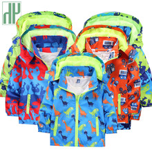 Children jackets hooded Waterproof Windbreakers spring jacket for girls Dinosaur Kids Toddler rain coat Jacket boy outerwear(China)