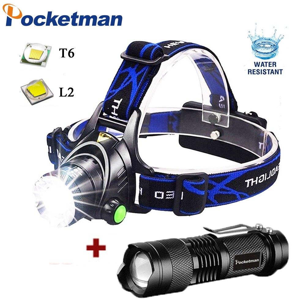 Linterna frontal recargable superbrillante T6/L2 con Zoom, linterna para cabeza resistente al agua, linterna para cabeza, lámpara frontal con batería 2*18650