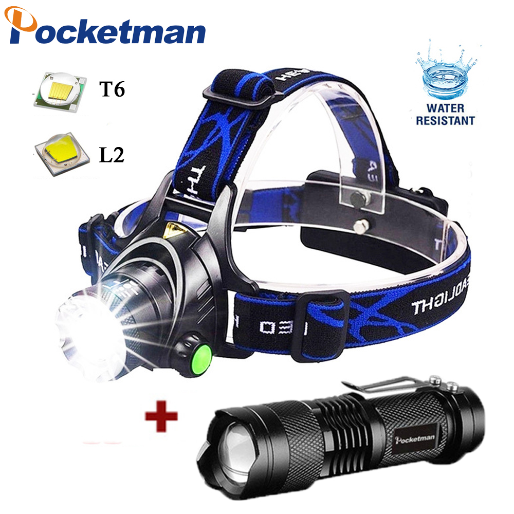 Rechargeable Headlamp Super Bright T6/L2 Zoom Headlight Waterproof Head Lamp Torch Flashlight Head Lamp Use 2*18650 Battery