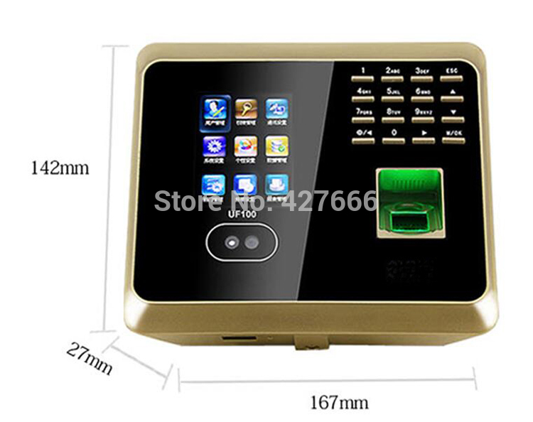 UF100 Golden TCP/IP Face Time Attendance System ZK Face and Fingerprint Time Clock With Free Software zk multibio700 face access controller tcp ip usb face and fingerprint time attendance and door security access control system