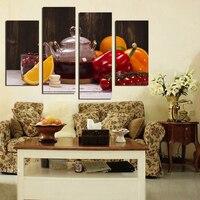 4 Painel Da Arte Da Lona de Frutas bebidas Vegetais Imagem para Cozinha Sala de estar Decoração Da Parede Cópias Da Lona Pintura Sem Moldura F18879