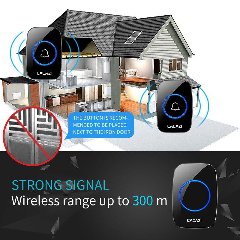Timbre inalámbrico CACAZI botones de batería impermeables US UE Reino Unido enchufe receptor 300M remoto Led luz hogar inalámbrico campana 60 campanas