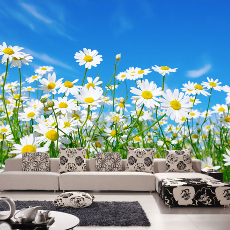 Custom Photo Wallpaper 3D Daisy Bedroom Living Room TV Background Mural Wallpaper Non-woven Modern Large Wall Painting Flowers