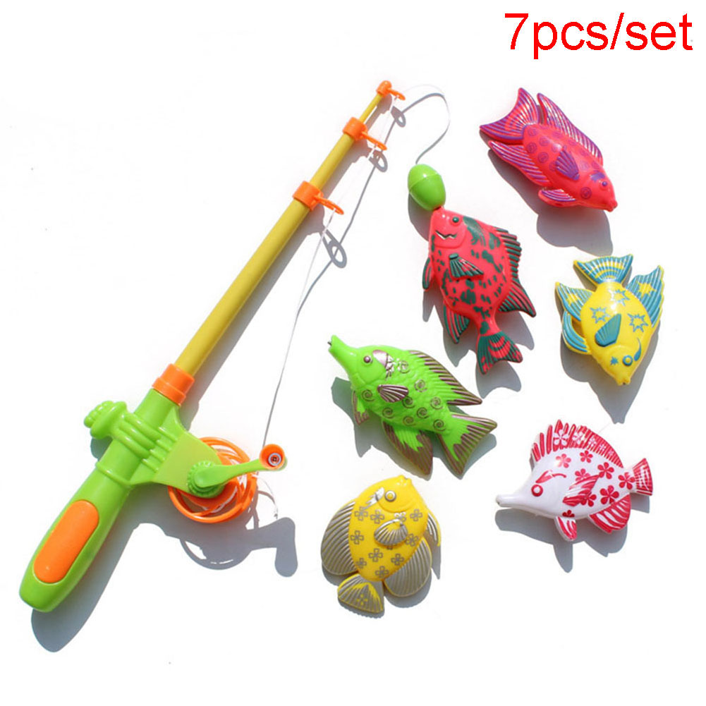 7 Pcs Magnetic Educational Fish Rod Baby Bath Toys Plastic Fishing Toy Children Educational Toys Playground Fishing Playset
