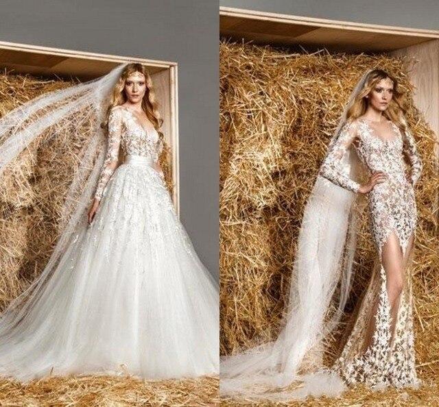 ברצינות לבנון סקסי שרוול ארוך שמלות כלה חמה למכירה שנהב לראות דרך שמלות ZV-09