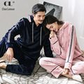 CherLemon Couple Warm Soft Hooded Pajamas Women and Mens Winter Flannel Homewear Causal Pullover Thicken Coral Fleece Loungewear