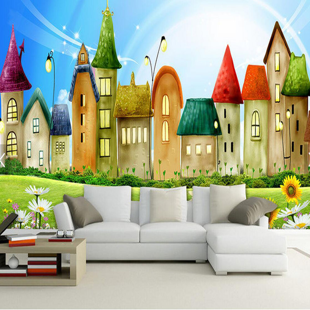 Castle Carton Kids Bedroom Photo Wall Paper for Living Room Children ...