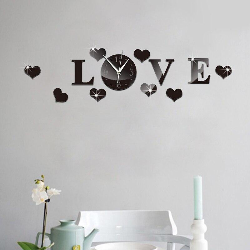 3D Wall Clock Mirror Sticker Mute Love Heart DIY Home Office Decoration SKD88