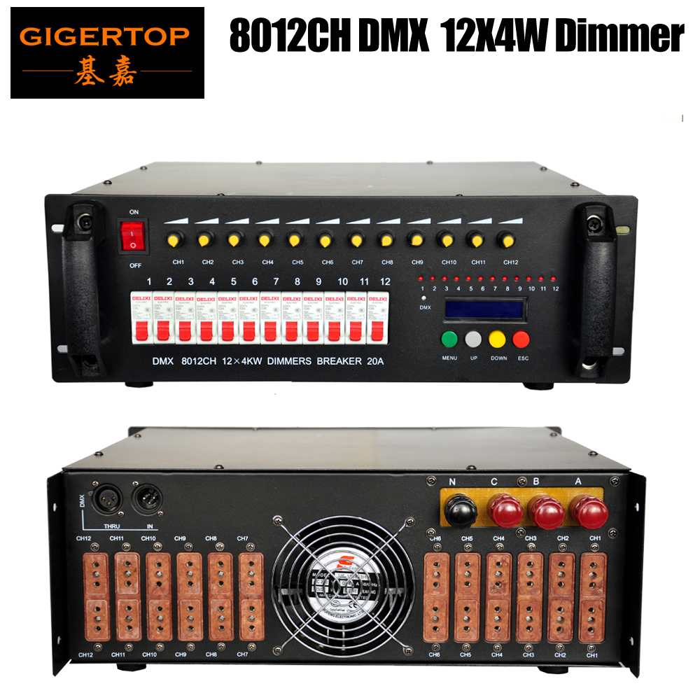 Gigertop Lighting Dimmer DMX Controller 12x4kw Loop Stage Lighting Console 0-100 Dimming Range 3 PIN XLR DMX Socket 100V-220V dmx512 digital display 24ch dmx address controller dc5v 24v each ch max 3a 8 groups rgb controller
