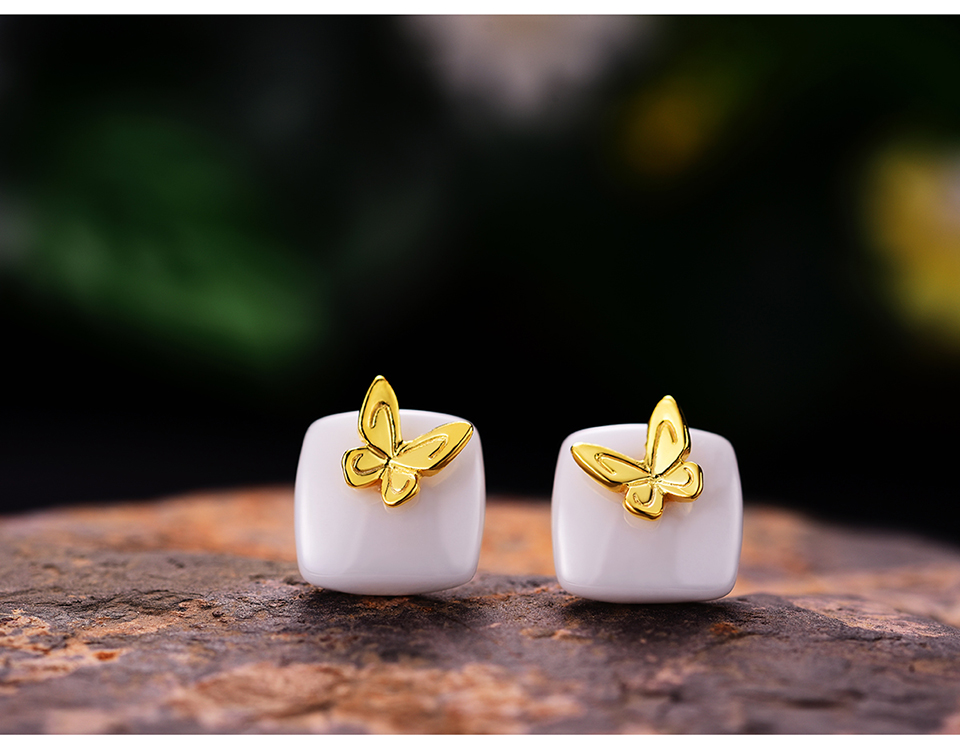 Muduh Collection Real 925 Sterling Silver Natural Ceramics Creative Handmade Fine Jewelry Lovely Butterfly Stud Earrings for Women
