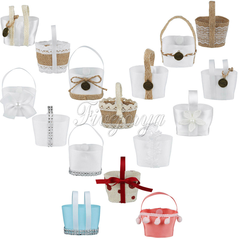 ④100PcsLovely Mini Wedding Candy Basket Candy Boxes Hanging Flower ...