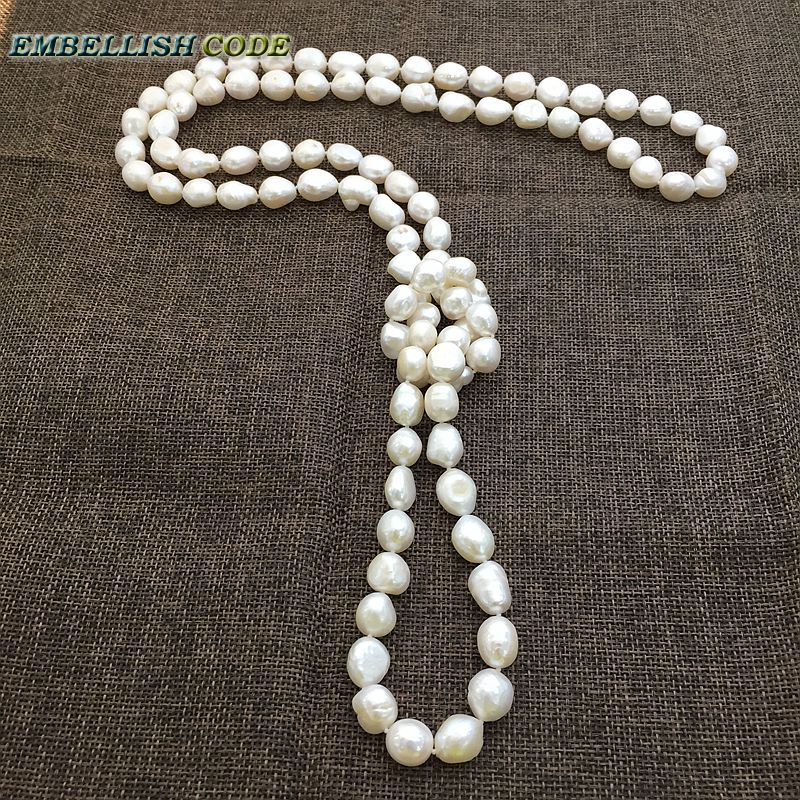 long necklace white color Rope knotted twisted style 120cm good sheen semi baroque irregular pearl freshwater pearls for sweater semi sheer intarsia star sweater