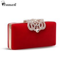 Hot sale crystal diamond design crown velour chain women bags,clutch bags,evening bags, bolsas WLHB993(China)