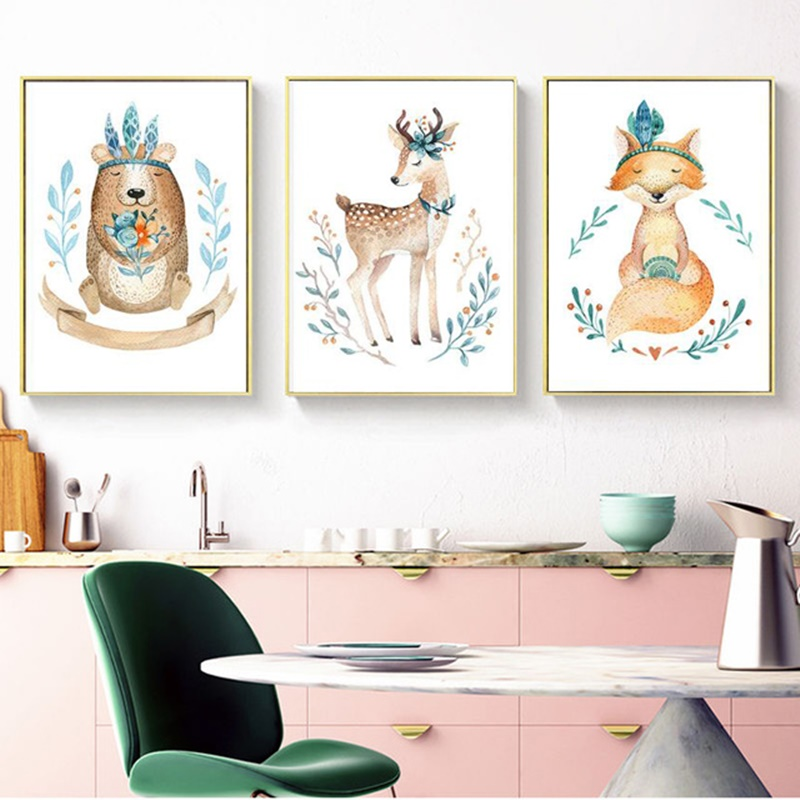 Nordic Cartoon Elk Fox Bear Posters and Prints Watercolor Cute Animals Canvas Painting Wall Pictures for Kid 39 s Room Decoration in Painting amp Calligraphy from Home amp Garden