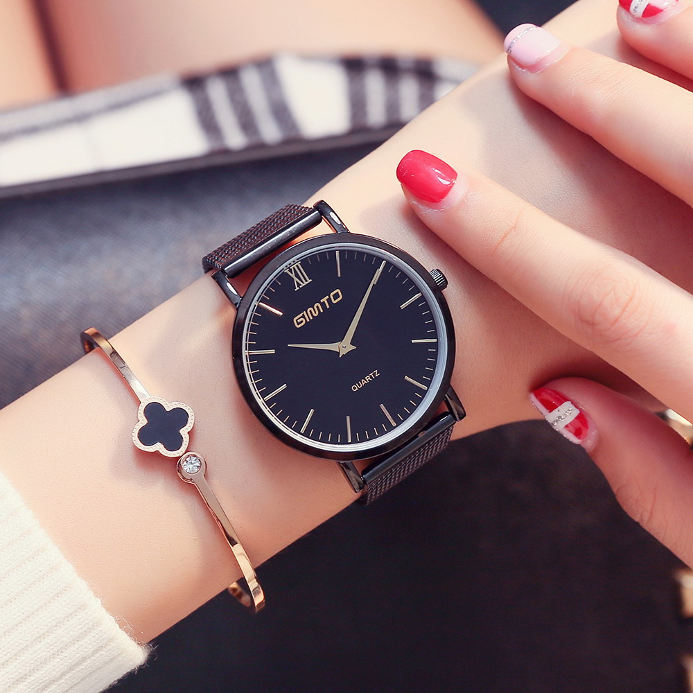 GIMTO Brand Luxury Quartz Women Watches Mesh Band Gold Bracelet Lovers Ladies Watch Simple Clock Female Wristwatch Sport Relogio gimto big dial gold black skull women watches luxury brand steel male female clock vintage ladies lovers watch relogio feminino