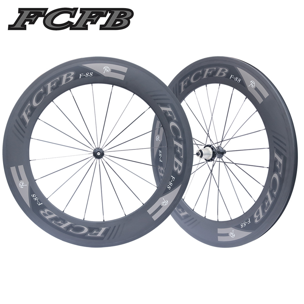 FCFB Carbon Road Wheelset 700C Powerway R36 Carbon Wheels 88mm Clincher V shape clin steel bearing ems free shipping велосипедное колесо oem 1 700c 50 powerway r36 50mm clincher rim r36 ceramic bearing hubs