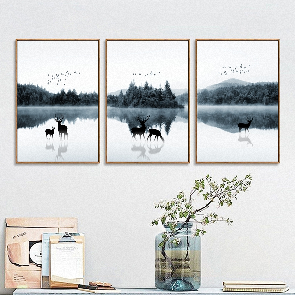 Landscape Animal Nordic Modern Simple Style Deer Forest Poster Canvas Wall Home Decoration Combined QPOOEK