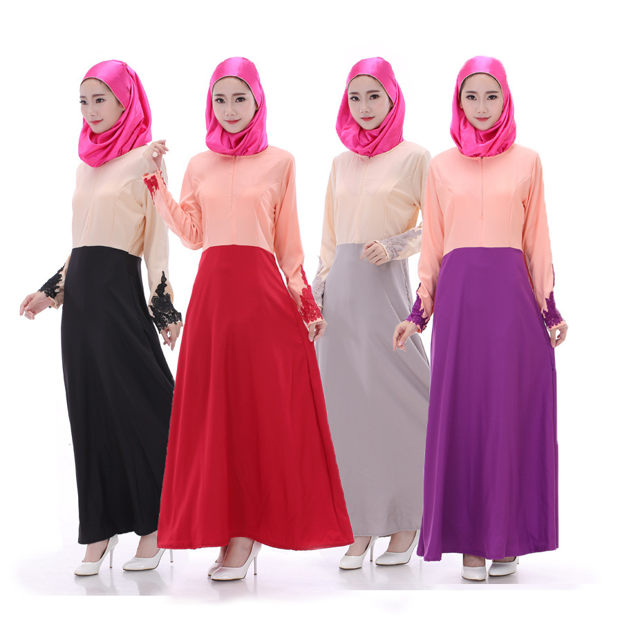 Fashion Muslim Long Dress Woman Lace Dress Mixed Colors Long Sleeves Dress 4 Colors Available