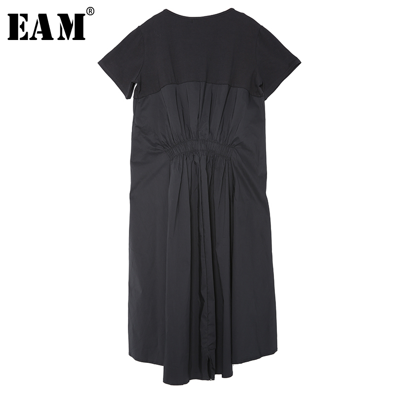 [EAM] 2020 New Spring Summer Round Neck Short Sleeve Black Back Long Pleated Loose Irregular Dress Women Fashion Tide F55