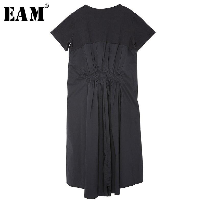 [EAM] 2020 New Spring Summer Round Neck Short Sleeve Black Back Long Pleated Loose Irregular Dress Women Fashion Tide F55