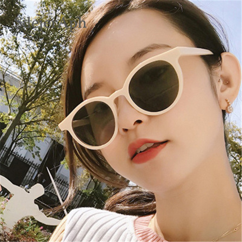 Retro Round Women Sunglasses Shades Korea Fashion Sun Glasses Eyewear Vintage Beige Tinted Color <font><b>Lens</b></font> Ladies Sunglasses Brand image