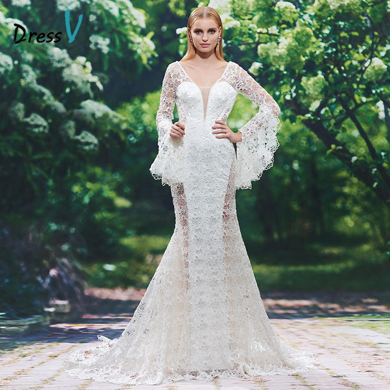 dressv luxury ivory mermaid wedding dress sexy backless v neck long sleeves lace hollow wedding dresses