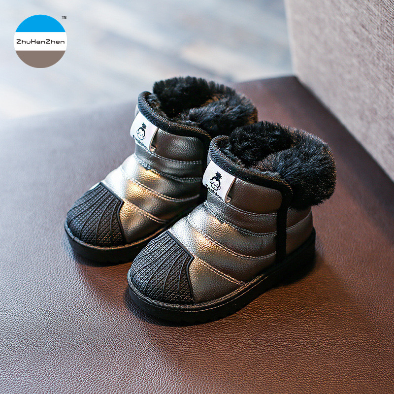 Girls Boys Children Winter Warm Shoes Snow Boots 5-17 Years Old Teen Plush Warm Waterproof Cotton Boots