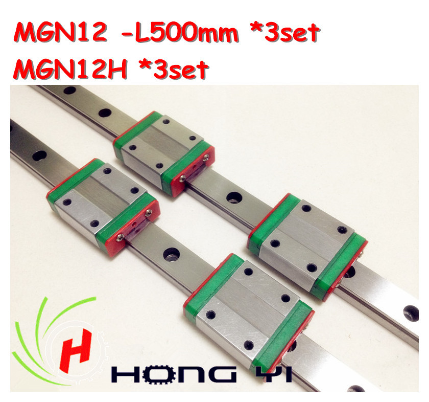 Free shipping for 3PCS 12mm Linear Guide MGN12 L= 500mm linear motion rail + MGN12H Long linear carriage for CNC X Y Z AxisFree shipping for 3PCS 12mm Linear Guide MGN12 L= 500mm linear motion rail + MGN12H Long linear carriage for CNC X Y Z Axis
