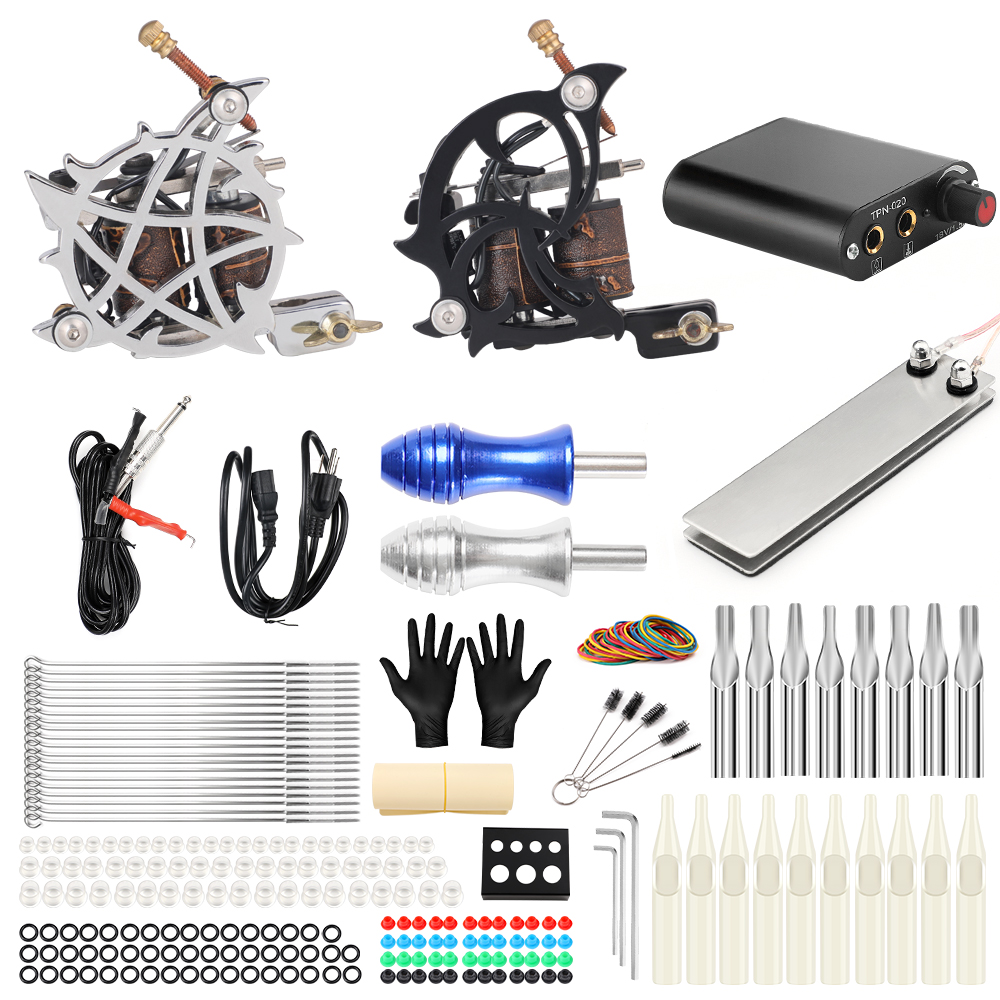 Professional Tattoo Complete 2 Coil Tattoo Machine Kit Power Supply Foot Pedal Switch Needles Set TK201-13 stigma tattoo complete 2 coil tattoo machine kit power supply foot pedal switch needles set tk201 6