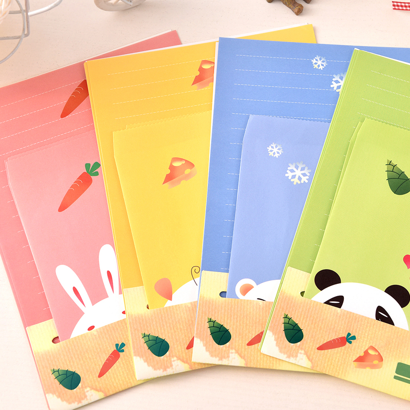 2017 Papel Cartoon Animals Collection Letter Pad Paper With Envelope 6 Sheets Paper+3 Pcs Envelopes Per Set Writing Stationery