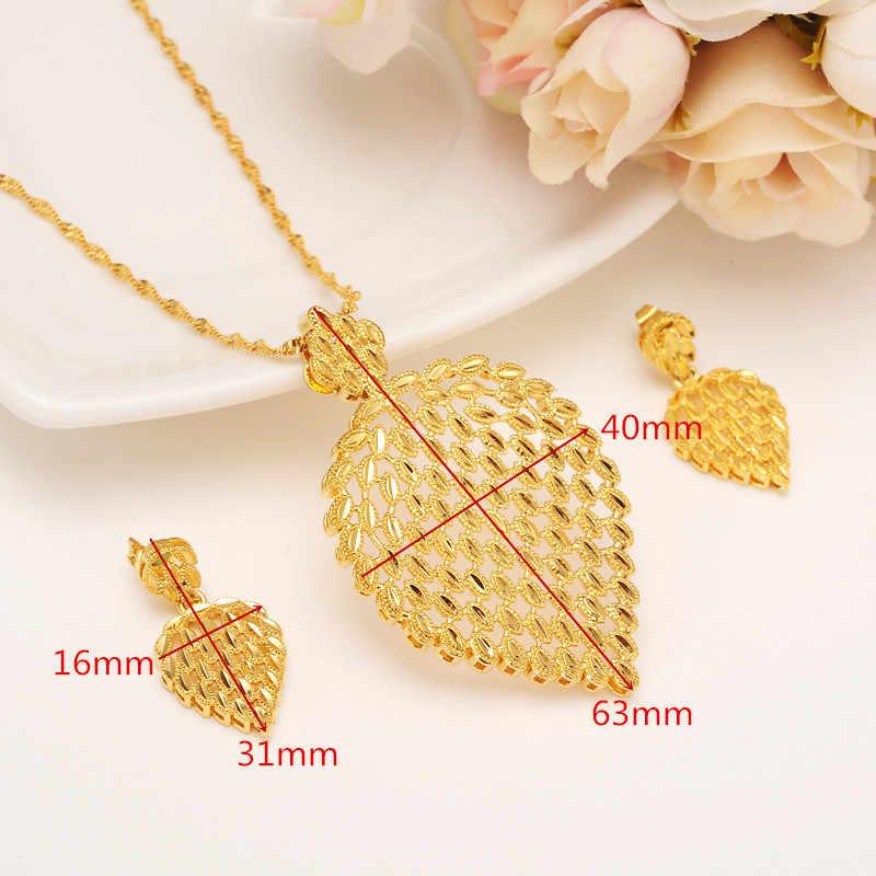 Złoty naszyjnik zestaw kolczyków kobiety Party prezent duży liść zestawy biżuterii odzież na co dzień prezent dla mamy DIY charms kobiety dziewczyny biżuterii