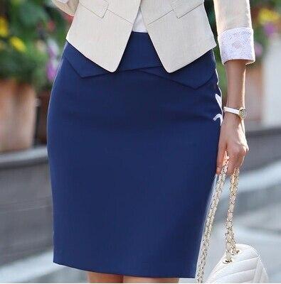 Plus la Taille Nouveau 2018 Femmes Solide Noir Bleu Rose Genou-Longueur Jupe  Crayon Femelle Rivet De Mode Jupes Femmes Formelle jupe S ~ 3XL 925ee6ded5c4